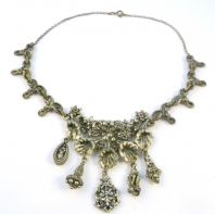 Vintage Baroque Style Floral Design Dropper Necklace By Miracle.
